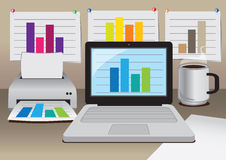 Vector office computer with business diagram Royalty Free Stock Photos