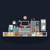 Vector of Office with equipment Royalty Free Stock Images