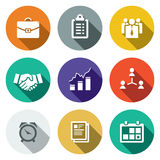 Vector office flat icons set. Office icon collection on a colored background Stock Image