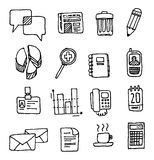 Vector office icon set/ Handwritten business cartoon Royalty Free Stock Photography