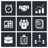 Vector office icons set. Office icon collection on a black background Royalty Free Stock Photography
