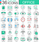 Vector Office modern color flat line outline icons for apps and web design. Royalty Free Stock Photo