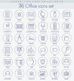 Vector Office Outline icon set. Elegant thin line style design. Stock Photography