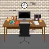 Vector Office room workspace Stock Image