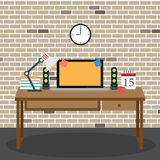 Vector of Office room workspace Royalty Free Stock Photos