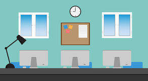 Vector of Office set.Laptop,windows,chair,desk Stock Photo