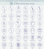 Vector Office stacionery outline icon set. Elegant thin line style design. Stock Images