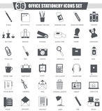 Vector Office stationery black icon set. Dark grey classic icon design for web. Royalty Free Stock Photography