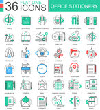 Vector Office stationery color flat line outline icons for apps and web design. Stationery icons elements. Stock Photo