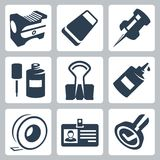 Vector office stationery icons set Royalty Free Stock Photo