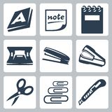 Vector office stationery icons set. Ream, note, writing pad and hole punch, stapler, destapler, scissors, paper clips and utility knife Stock Photo
