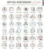 Vector Office stationery line red color line outline icons for apps and web design. Office stationery elements tools Stock Photos
