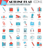 Vector Office stationery ultra modern outline artline flat line icons for web and apps. Royalty Free Stock Photo