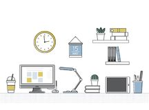 Vector of office supplies equipment Royalty Free Stock Images