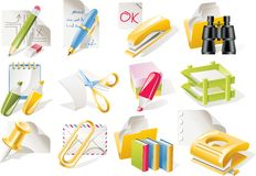 Vector office supplies icon set Royalty Free Stock Photos