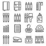 Vector Office Things, Thin Line Icons Set. Stock Photos