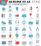 Vector Office ultra modern outline artline flat line icons for web and apps. Stock Photos