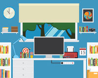 Vector of office workstation .creative desk ,book. Stock Image