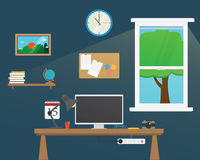Vector of Office workstation room.Creative Royalty Free Stock Photos