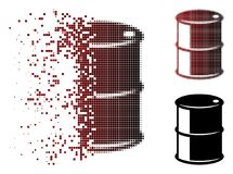 Dispersed Pixel Halftone Oil Barrel Icon. Vector oil barrel icon in dispersed, dotted halftone and undamaged whole versions. Disintegration effect involves vector illustration