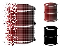 Dissolved Pixel Halftone Oil Barrel Icon. Vector oil barrel icon in sparkle, dotted halftone and undamaged entire versions. Disappearing effect involves royalty free illustration