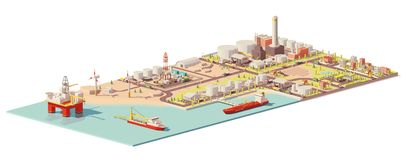 Vector oil extraction and consumption infographic. Vector low poly oil extraction, processing, consumption infographic. Includes offshore oilrig, tanker and port stock illustration