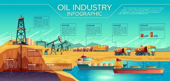 Vector oil industry extraction infographics. Vector oil industry business presentation infographics. Oil extraction, transportation of petroleum gasoline diesel stock illustration