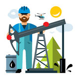 Vector Oil Industry. Flat style colorful Cartoon illustration. Stock Images