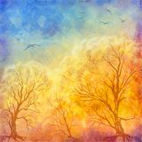 Vector oil painting autumn trees, flying birds stock illustration