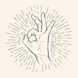 Vector OK gesture. Allright sign hand drawn sketch. Stock Images