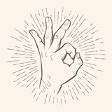 Vector OK gesture. Allright sign hand drawn sketch. Royalty Free Stock Photos