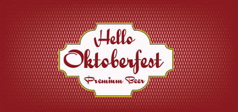 Vector Oktoberfest beer festival. Vector Hello Oktoberfest beer festival over red background, flat style Royalty Free Stock Image