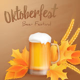 Vector oktoberfest poster with realistic glass of beer, yellow leaves and ears of wheat Stock Photo
