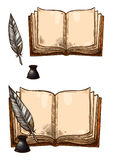 Vector old books and ink quill feather pens. Old books with ink quill feather pen and inkwell. Vector isolated sketch icons of retro or antique writing royalty free illustration