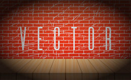 Vector old brick wall with wooden scene. Vignettes Royalty Free Stock Photo