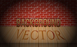 Vector old brick wall with wooden scene. Vignettes Stock Photography