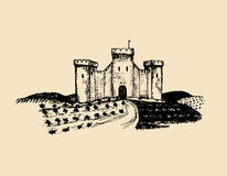 Vector old castle illustration. Gothic fortress. Hand drawn sketch of landscape with tower among rural fields and hills. Royalty Free Stock Images