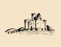 Vector old castle illustration. Gothic fortress. Hand drawn sketch of landscape with tower among rural fields and hills. Stock Photos