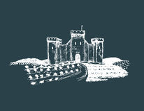 Vector old castle illustration. Gothic fortress. Hand drawn sketch of landscape with tower among rural fields and hills. Royalty Free Stock Photos