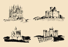 Vector old castles illustrations set. Hand drawn architectural landscapes of ancient towers with rural fields and hills. Vector old castles illustrations set Stock Image