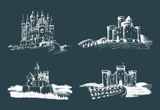 Vector old castles illustrations set. Hand drawn architectural landscapes of ancient towers with rural fields and hills. Vector old castles illustrations set Stock Photos