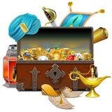 Vector Old Eastern Chest with Treasures Stock Illustration