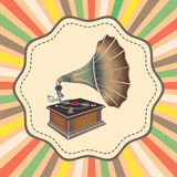 Vector old fashion gramophone on retro background Royalty Free Stock Photography