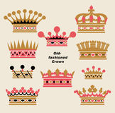 Vector old-fashioned crown sets Stock Photos