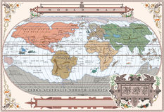 Vector old globe in vintage frame Royalty Free Stock Photos