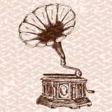 Vector old gramophone on a background. Royalty Free Stock Image