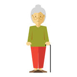 Vector old lady or grandmother. Old lady or grandmother. Icon of elderly female person with smile. Happy mature woman or grandma with grey hair. Cartoon Royalty Free Stock Photography