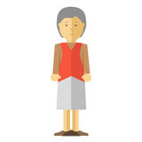 Vector old lady or grandmother. Old lady or grandmother. Icon of elderly female person with smile. Happy mature woman or grandma with grey hair. Cartoon Royalty Free Stock Images