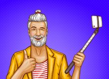 Vector old man with selfiestick and smartphone Royalty Free Stock Images
