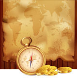 Vector old map with a compass and pirate coins. On a wooden background Royalty Free Stock Photography